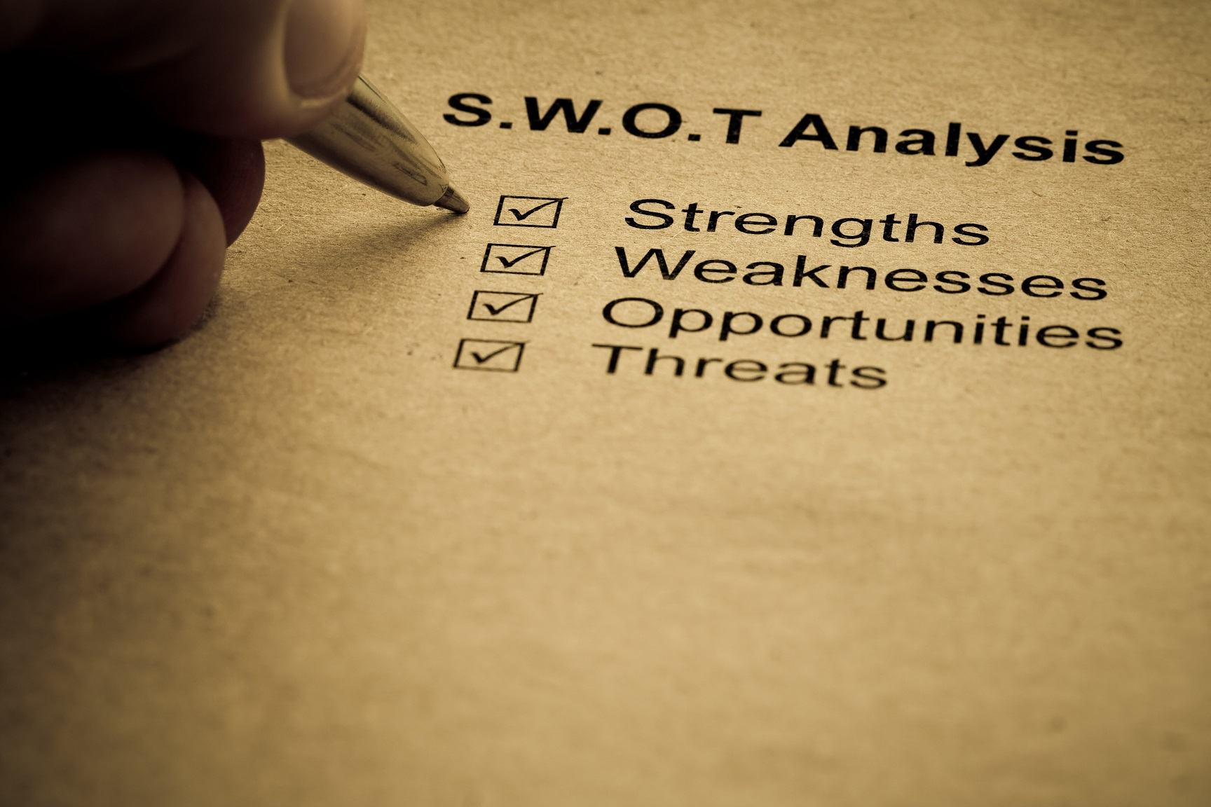 Business strategy analysis concept. SWOT analysis - strength, weakness, opportunities, threats
